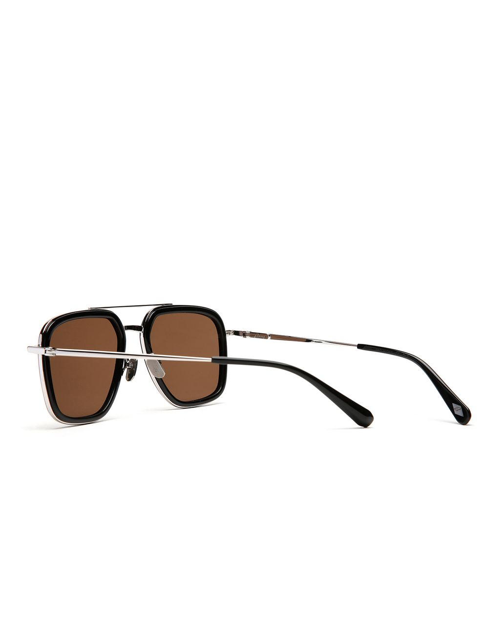 BRIONI Black Geometric Shape Sunglasses with Brown Lenses  Sunglasses Man d