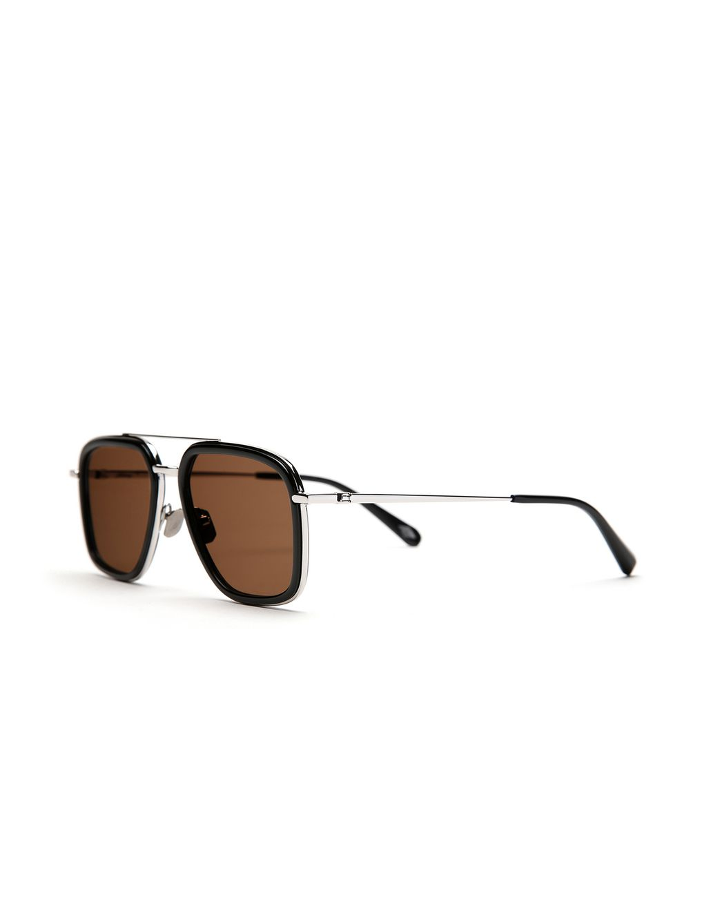 BRIONI Black Geometric Shape Sunglasses with Brown Lenses  Sunglasses Man r