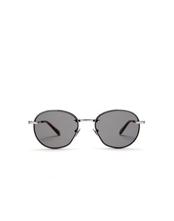 Silver Rounded Titanium Sunglasses with Grey Lenses