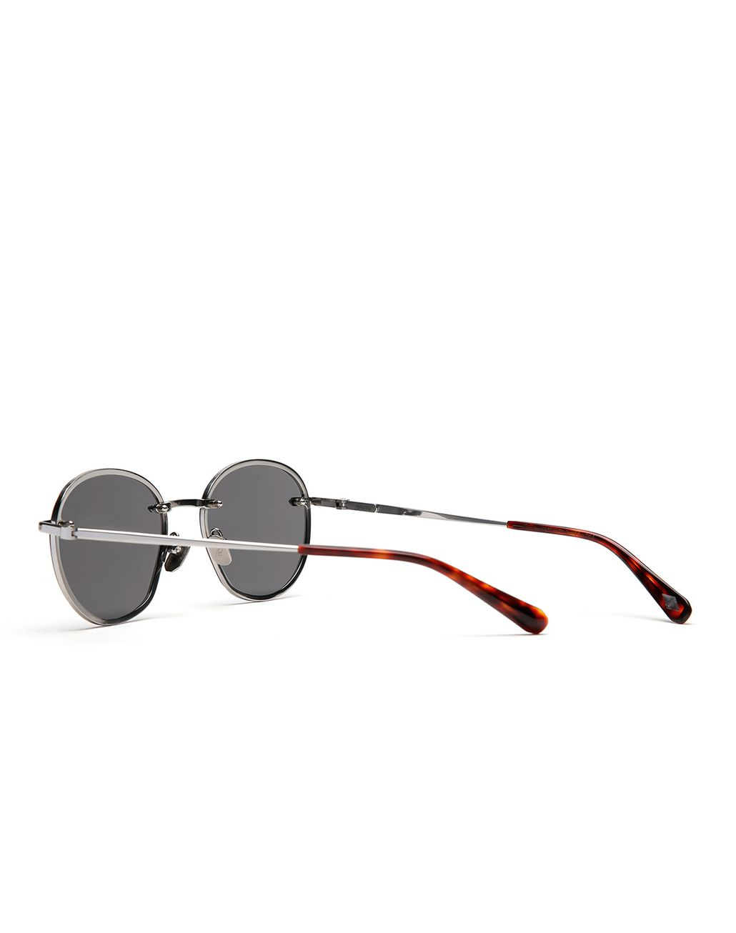 BRIONI Silver Rounded Titanium Sunglasses with Grey Lenses  Sunglasses Man d