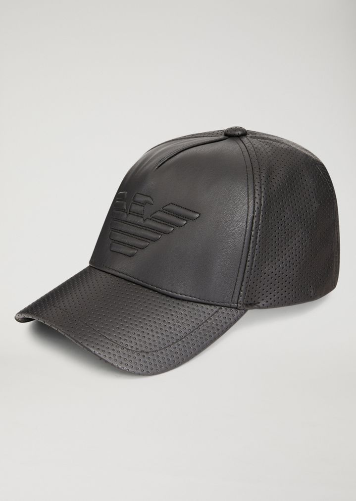 Faux leather baseball cap with maxi logo  3367cbd7350