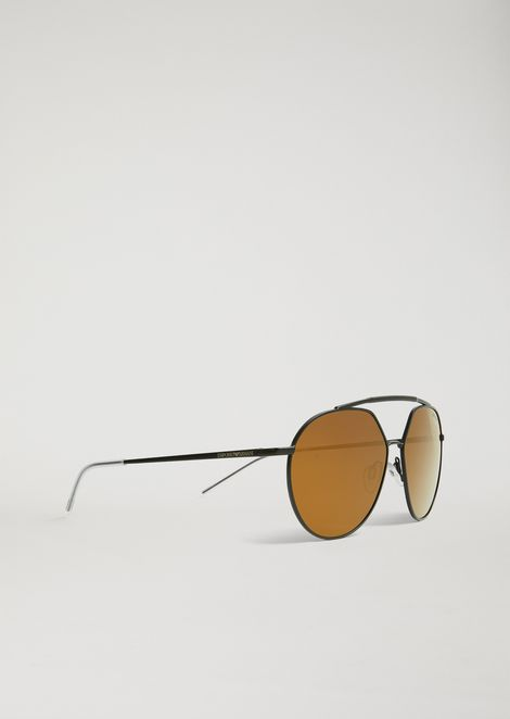 e262ff41933a Sunglasses with double bridge and mirrored lenses