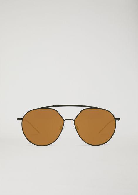 Occhiali da sole con doppio ponte e lenti a specchio
