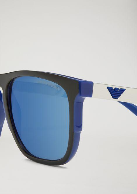 Rubber and aluminum square sunglasses