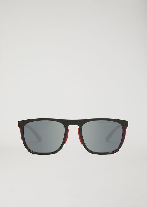 Rubber and aluminium square sunglasses