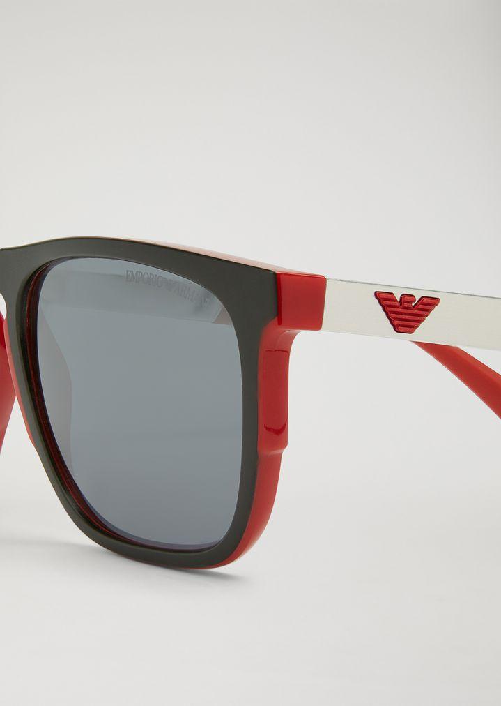 364c0ce08708 Home · Emporio Armani · Man · Sunglasses  Rubber and aluminium square  sunglasses. ASIAN CUSTOM FIT