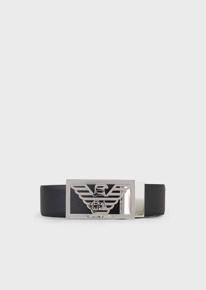 9501b3e30 Cinturón reversible de piel con hebilla con logotipo | Hombre | Emporio  Armani
