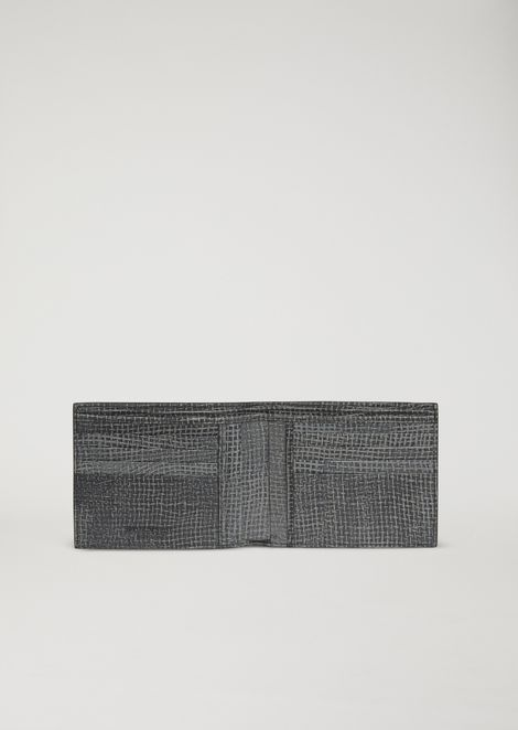 Jute-effect print leather wallet