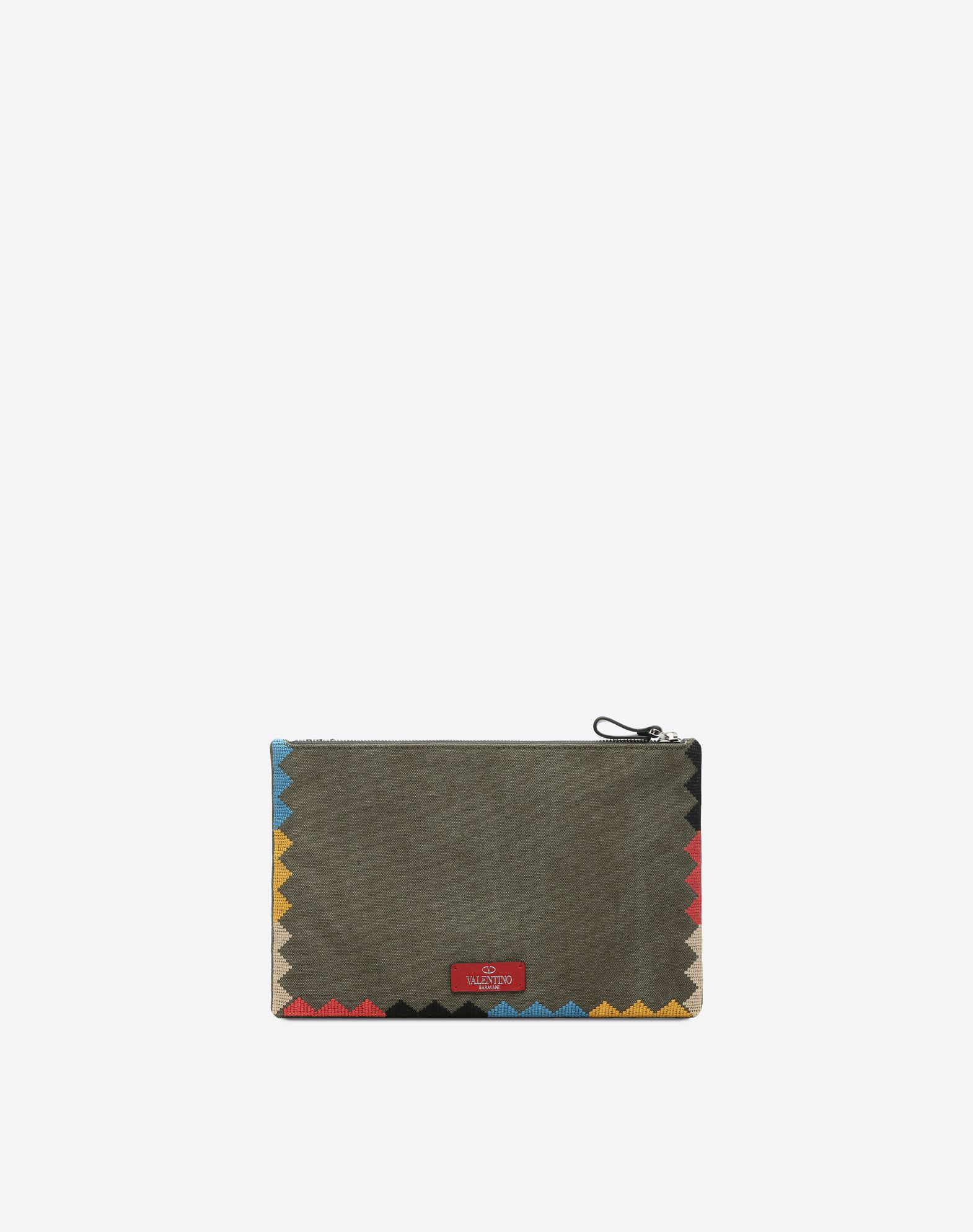 VALENTINO GARAVANI UOMO Embroidered Large Flat Pouch POUCH U d