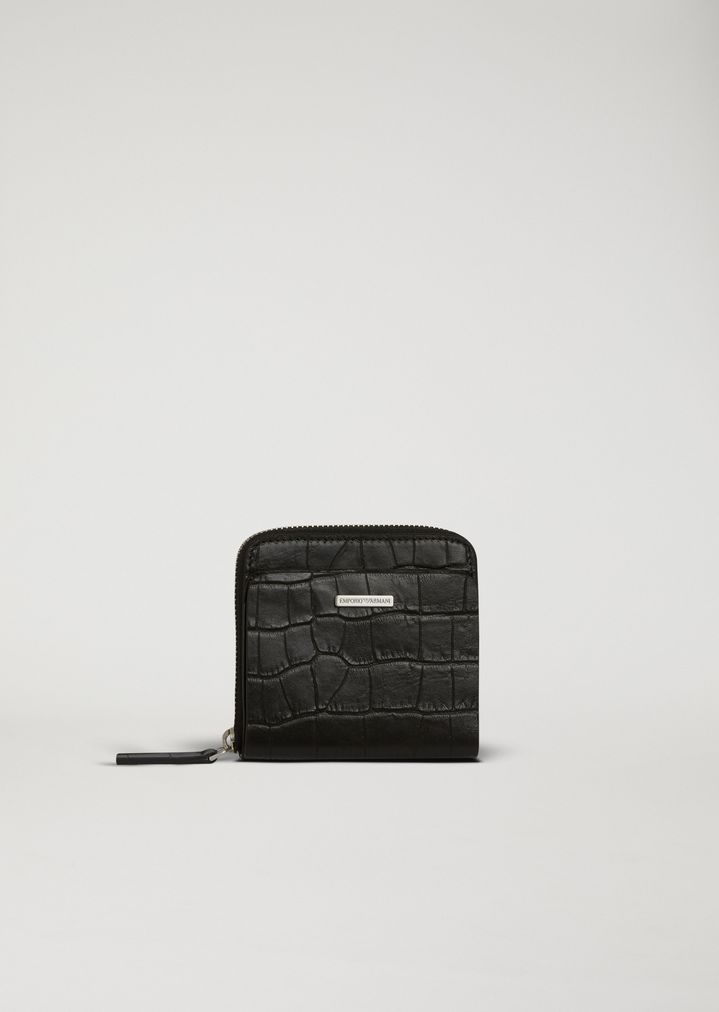 263a6b926909e Quadratisches Portemonnaie aus Leder mit Kroko-Prägung