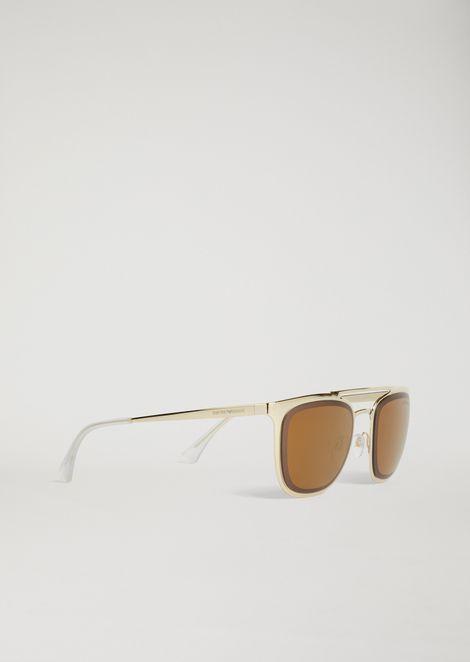 Metal sunglasses with double bridge