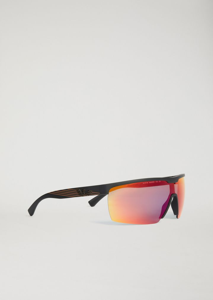 EMPORIO ARMANI Sporty sunglasses with coloured lenses Sunglasses Man f