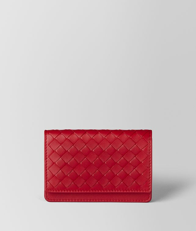 BOTTEGA VENETA PORTA CARTE IN INTRECCIATO NAPPA CHINA RED Porta Carte e Portamonete E fp