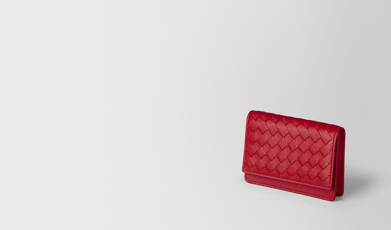china red intrecciato nappa card case landing