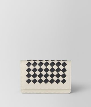 MIST/NERO INTRECCIATO CHECKER CARD CASE