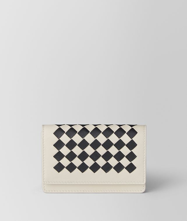 BOTTEGA VENETA MIST/NERO INTRECCIATO CHECKER CARD CASE Card Case E fp