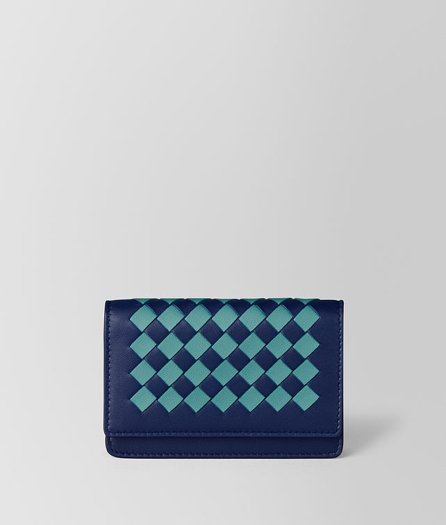 BOTTEGA VENETA ATLANTIC/AQUA INTRECCIATO CHECKER CARD CASE Card Case or Coin Purse E fp