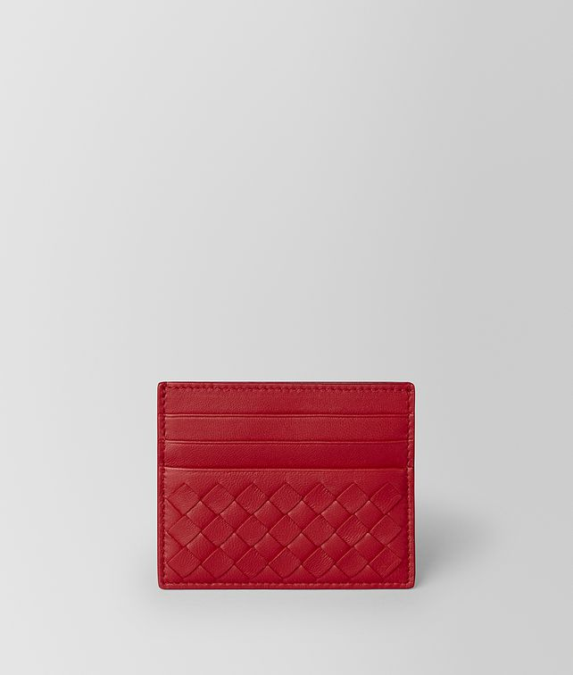 BOTTEGA VENETA CHINA RED INTRECCIATO NAPPA CARD CASE Card Case or Coin Purse E fp