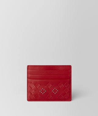 CHINA RED NAPPA MICROSTUDS CARD CASE