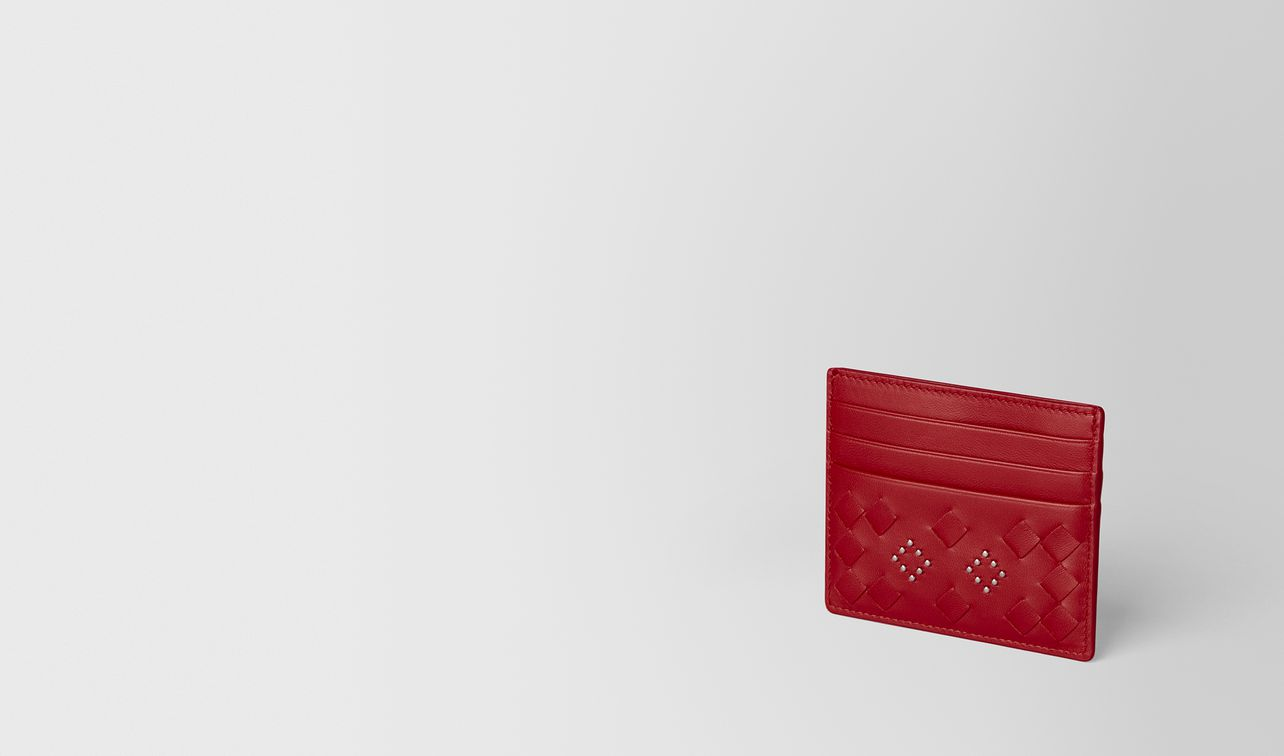 china red nappa microstuds card case landing