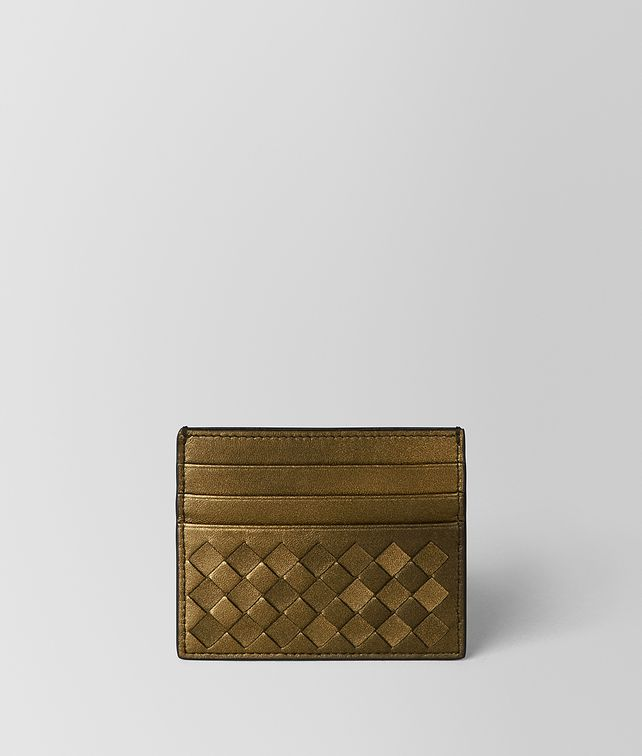 BOTTEGA VENETA DARK GOLD INTRECCIATO NAPPA CARD CASE Card Case or Coin Purse E fp