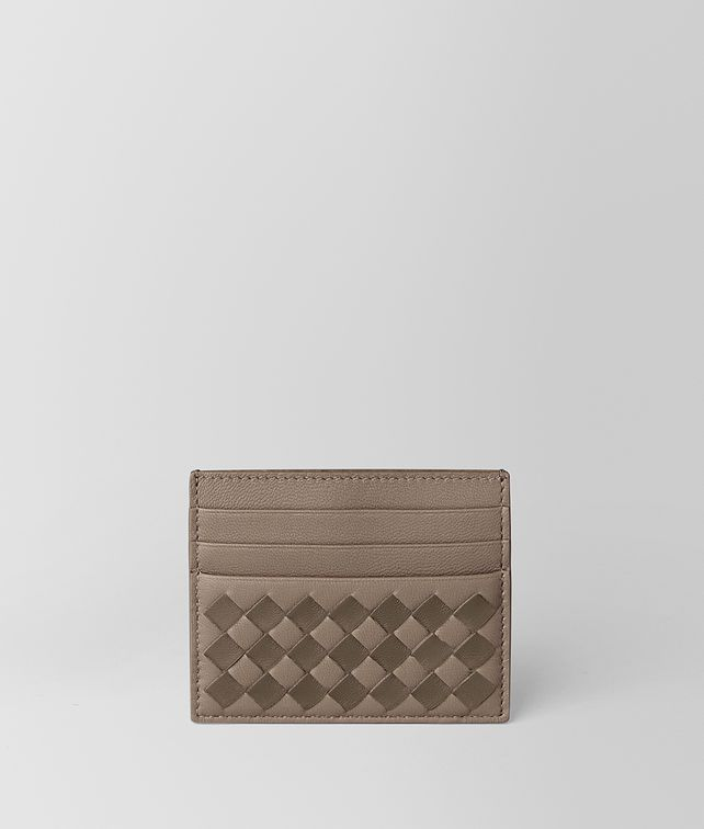 BOTTEGA VENETA LIMESTONE/STEEL INTRECCIATO CHECKER CARD CASE Card Case E fp
