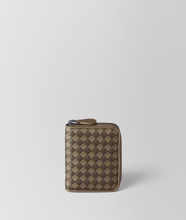 BOTTEGA VENETA LIMESTONE/STEEL INTRECCIATO CHECKER COIN PURSE Card Case or Coin Purse [*** pickupInStoreShipping_info ***] fp