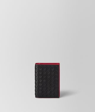 NERO INTRECCIATO VN/CHINA RED NAPPA CARD CASE