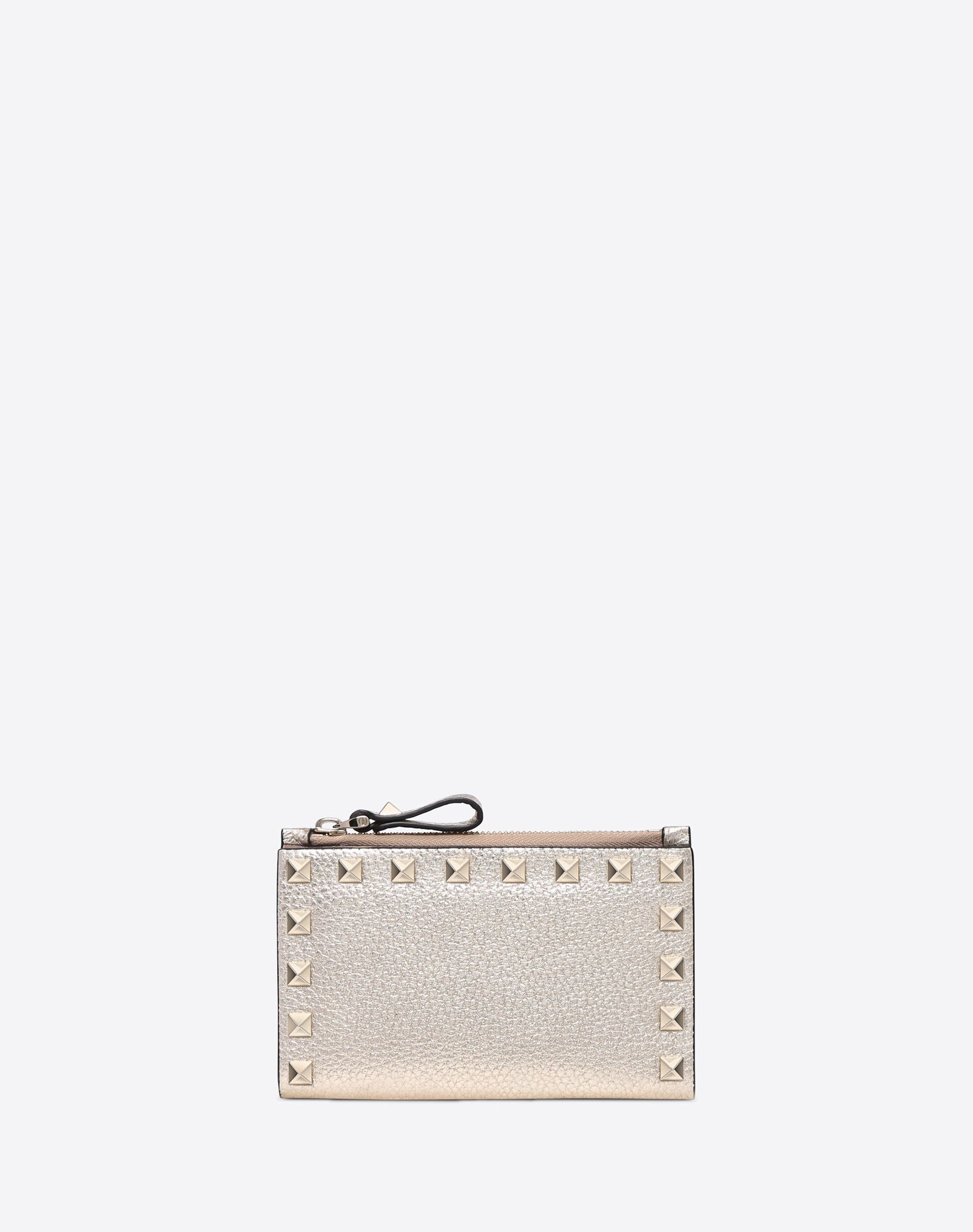 VALENTINO Textured leather Laminated effect Studs Solid color External side zip pocket Internal card slots  46582105jn