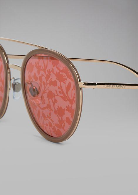 Солнцезащитные очки с цветочным принтом на линзах