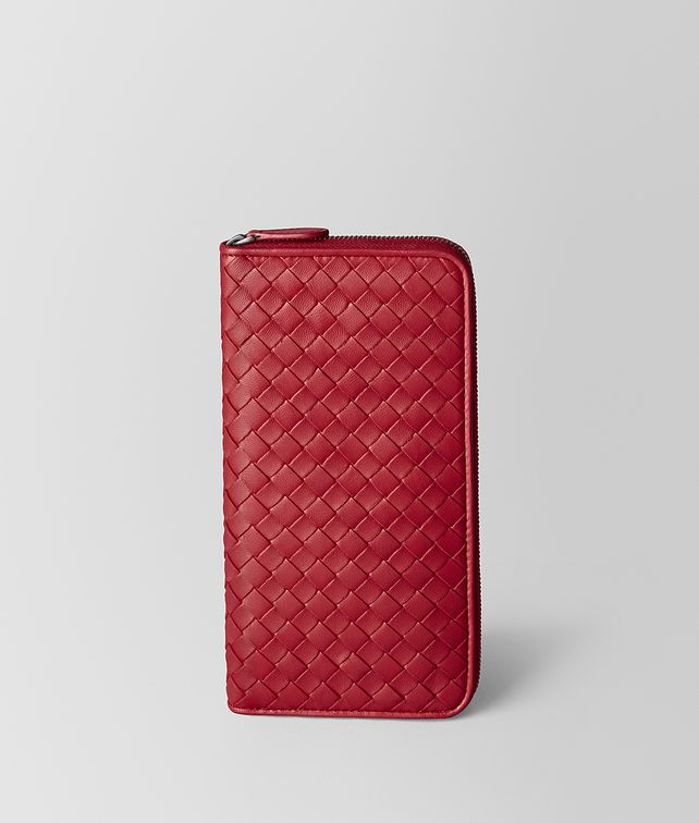 BOTTEGA VENETA CHINA RED INTRECCIATO NAPPA ZIP AROUND WALLET Zip Around Wallet [*** pickupInStoreShipping_info ***] fp