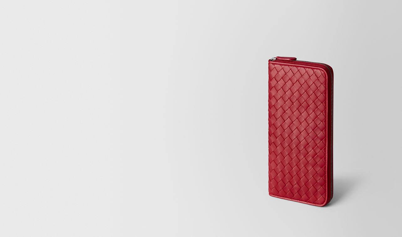 china red intrecciato nappa zip around wallet landing