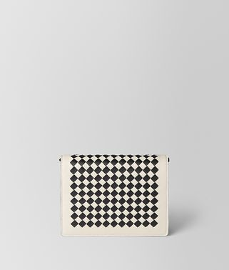 MIST/NERO INTRECCIATO CHECKER CHAIN WALLET