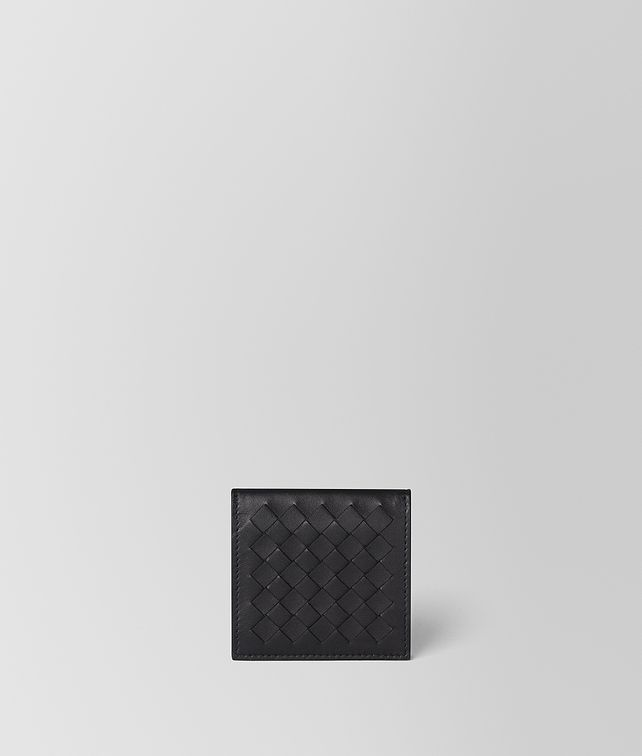 BOTTEGA VENETA NERO/CEMENT INTRECCIATO NAPPA COIN PURSE Small Wallet [*** pickupInStoreShippingNotGuaranteed_info ***] fp