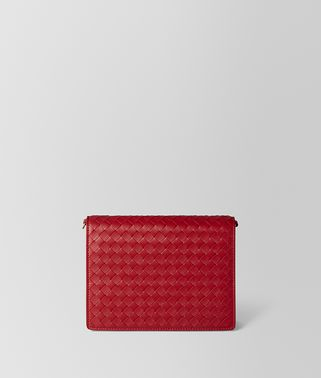 CHINA RED INTRECCIATO NAPPA CHAIN WALLET