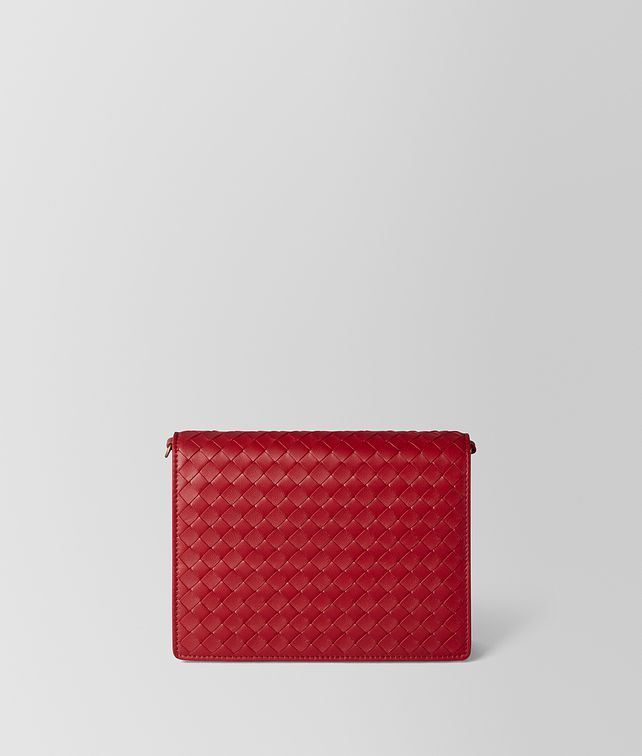BOTTEGA VENETA PORTAFOGLIO CON CATENA IN INTRECCIATO NAPPA CHINA RED Borsa mini e pochette [*** pickupInStoreShipping_info ***] fp