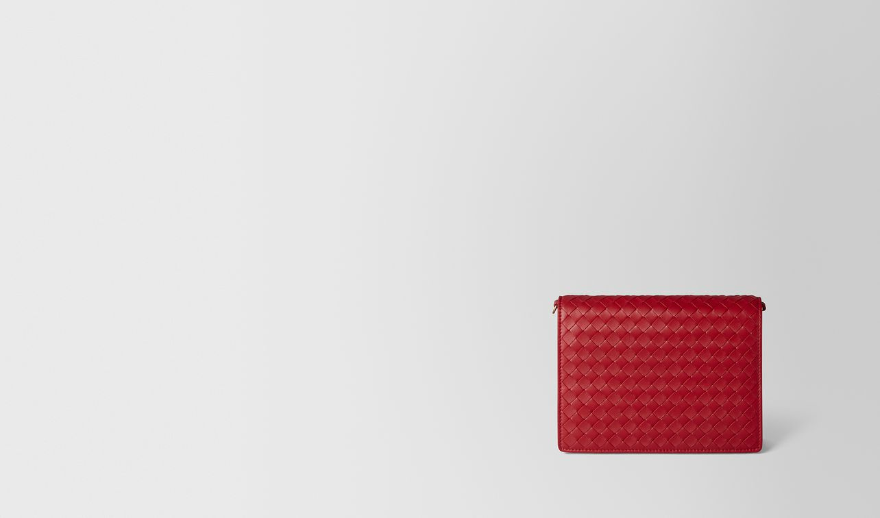 china red intrecciato nappa chain wallet landing