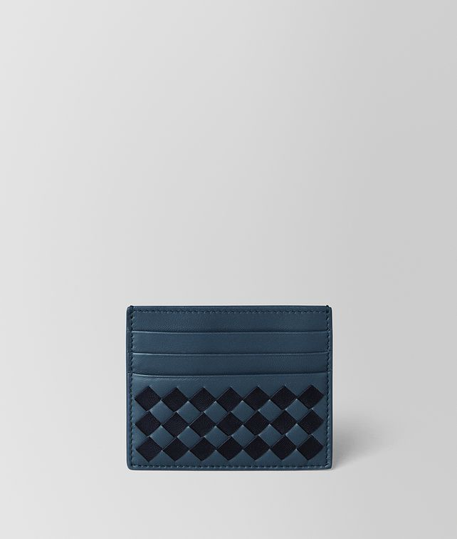 BOTTEGA VENETA DENIM/TOURMALINE CHECKER NAPPA CARD CASE Card Case or Coin Purse [*** pickupInStoreShippingNotGuaranteed_info ***] fp
