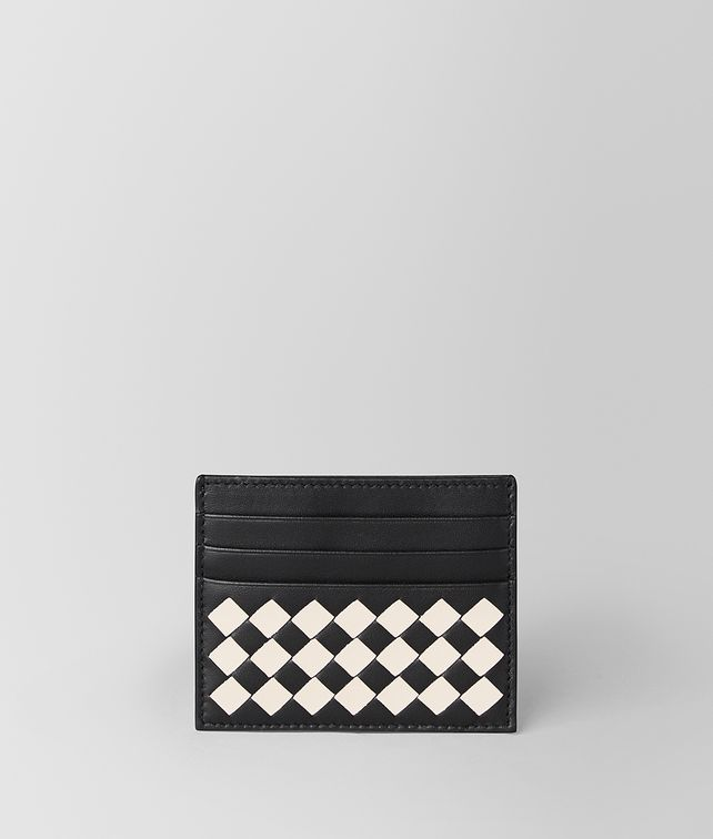 BOTTEGA VENETA NERO/MIST CHECKER NAPPA CARD CASE Card Case [*** pickupInStoreShippingNotGuaranteed_info ***] fp