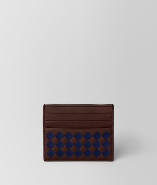 DARK BAROLO/ATLANTIC CHECKER NAPPA CARD CASE
