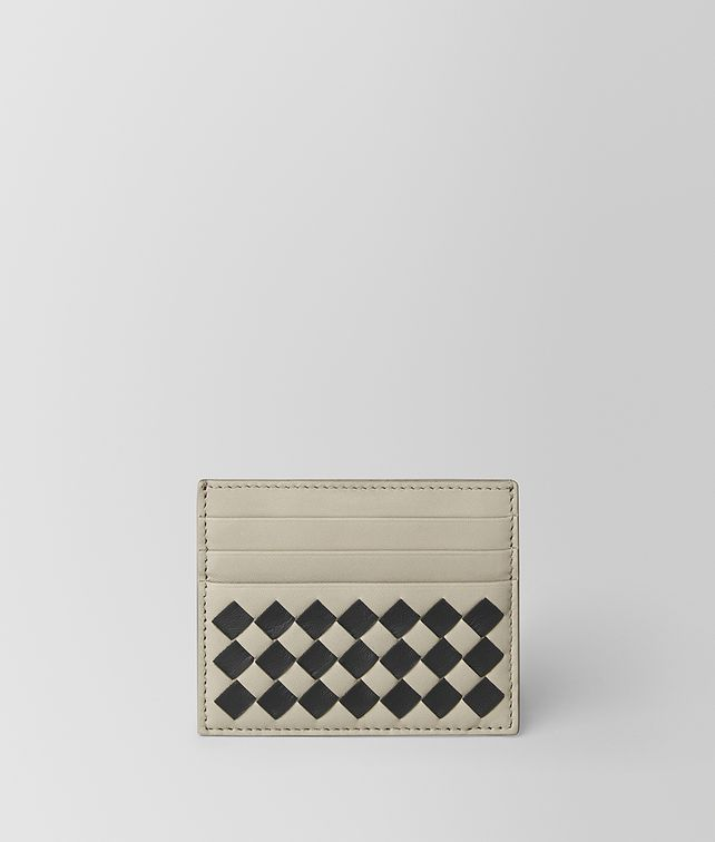 BOTTEGA VENETA CEMENT/NERO CHECKER NAPPA CARD CASE Card Case or Coin Purse [*** pickupInStoreShippingNotGuaranteed_info ***] fp
