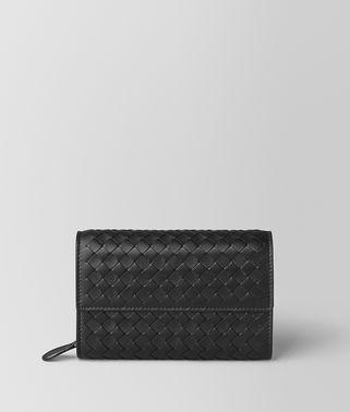 黑色编织小羊皮钱包