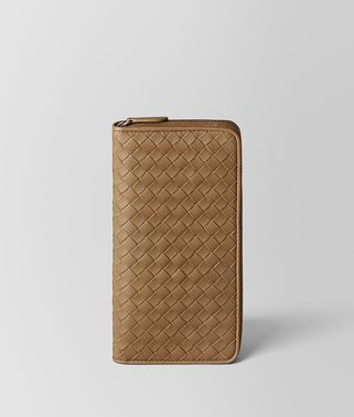 CAMEL INTRECCIATO NAPPA ZIP AROUND WALLET