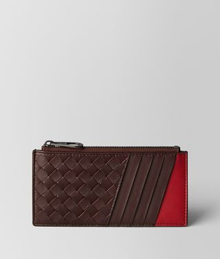 DARK BAROLO/CHINA RED INTRECCIATO NAPPA CARD CASE