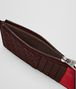 dark barolo/china red intrecciato nappa card case Front Detail Portrait