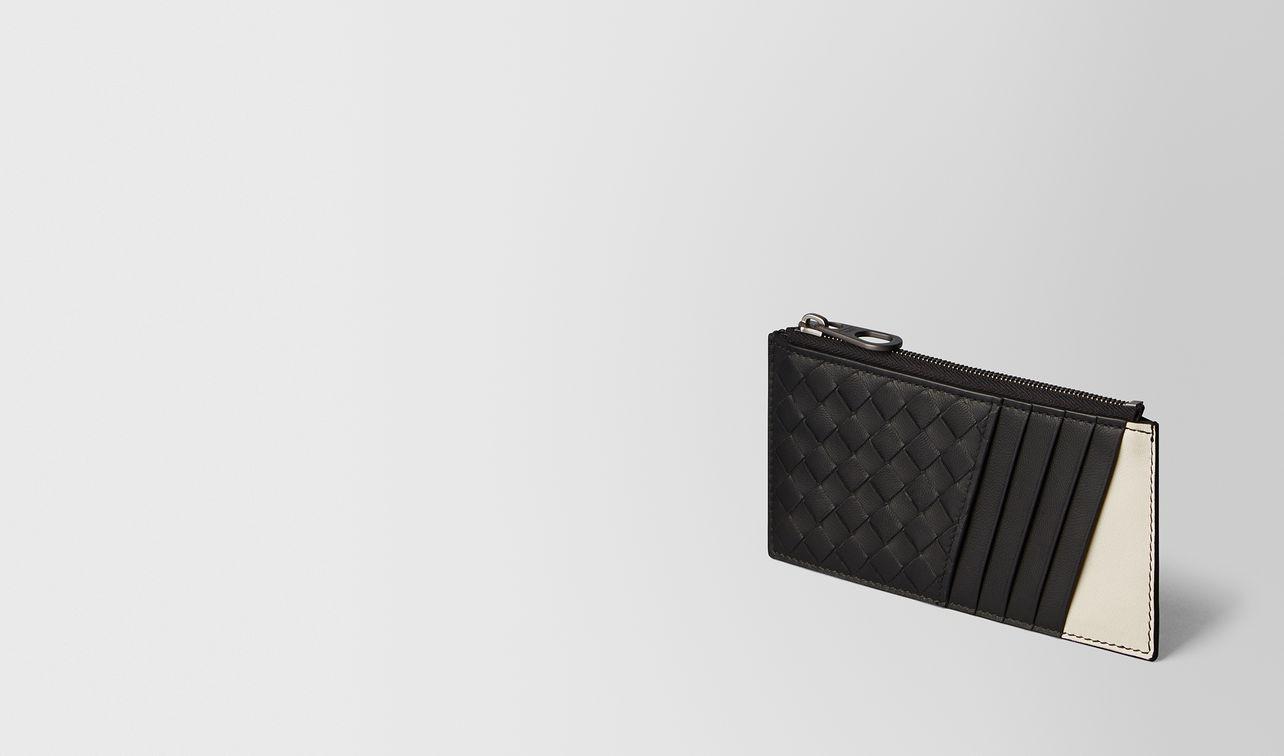 nero/mist intrecciato nappa card case landing