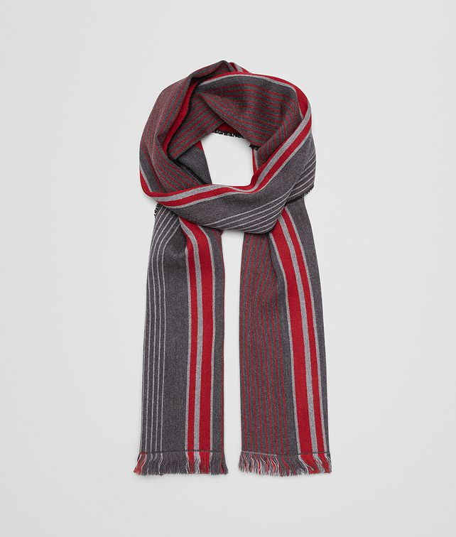 BOTTEGA VENETA ANTHRACITE/RED WOOL SCARF Scarf Man fp