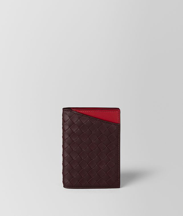 BOTTEGA VENETA DARK BAROLO/CHINA RED INTRECCIATO NAPPA CARD CASE Card Case or Coin Purse [*** pickupInStoreShippingNotGuaranteed_info ***] fp