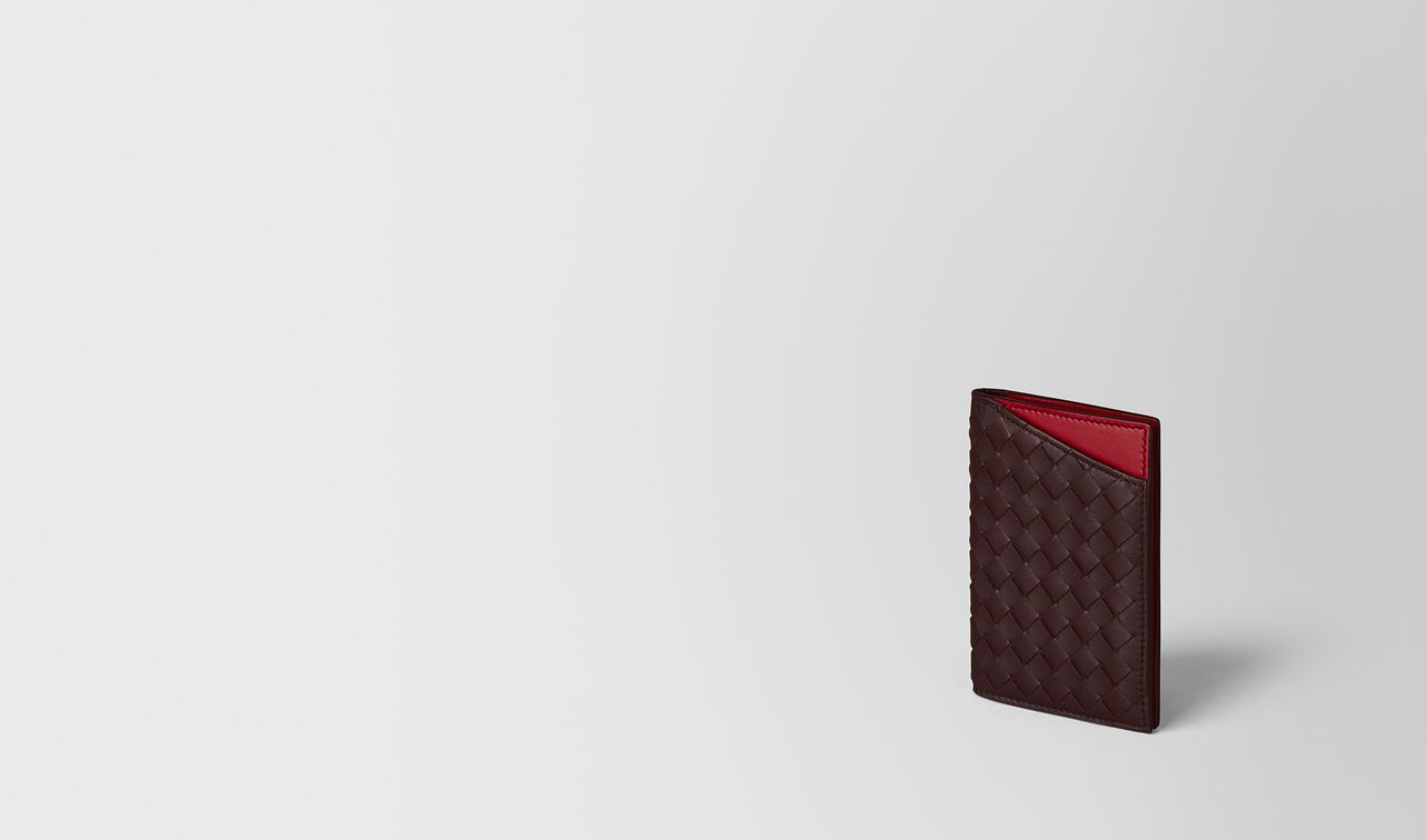 dark barolo/china red intrecciato nappa card case landing