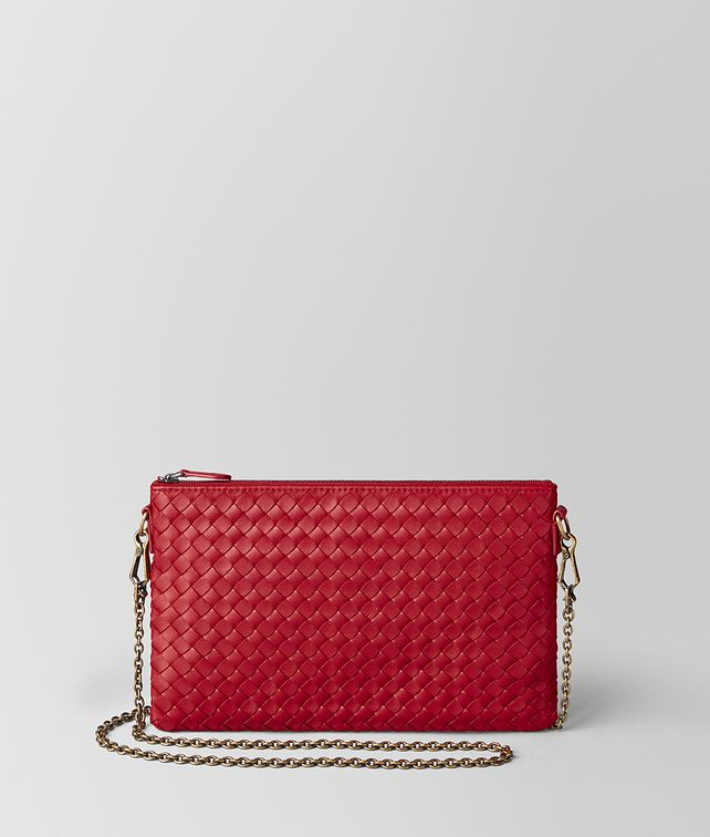 BOTTEGA VENETA CHINA RED INTRECCIATO NAPPA BILETTO CHAIN CHAIN WALLET Woman fp